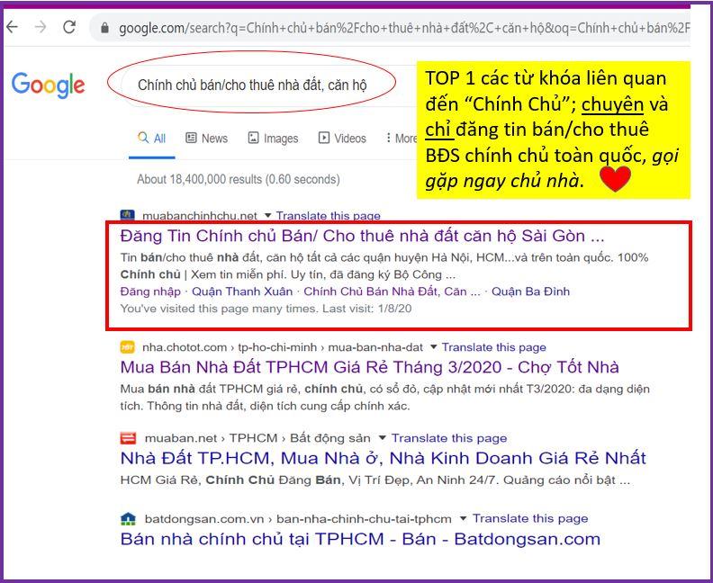 """TOP 1 TỪ KHÓA GOOGLE """"BÁN/ CHO THUÊ NHÀ ĐẤT, CĂN HỘ CHÍNH CHỦ"""""""